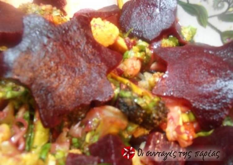 Πικάντικη σαλάτα κουνουπίδι, παντζάρι, πιπερίτσα