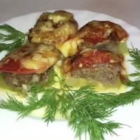 Кабачки с фаршем, помидорами и сыром, запечённые в духовке