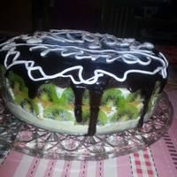 Торт с творожным кремом-желе и фруктами
