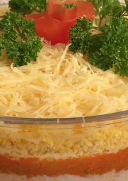 Салат «Нежность». Слоеный салат с крабовыми палочками (креветками)