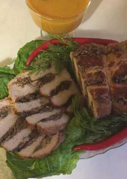 Свиная корейка начинённая говяжьим фаршем