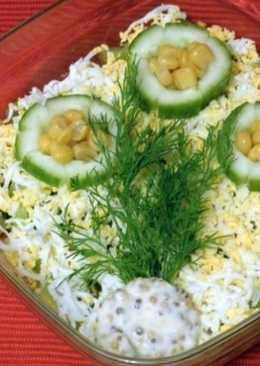 Салат с кукурузой, крабовым мясом и киви «Знакомство»