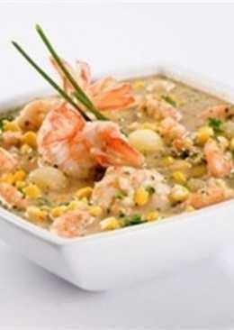 Суп кукурузно-молочный с креветками