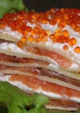 """Блинный пирог с семгой-""""Праздничный"""""""