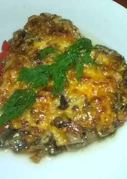Баклажаны запеченные с грибами и сыром в сливках-вкуснятина