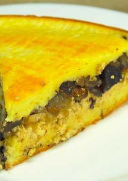 Быстрый пирог с грибами и икрой трески