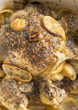 Курица запеченная в духовке с лимоном и чесноком