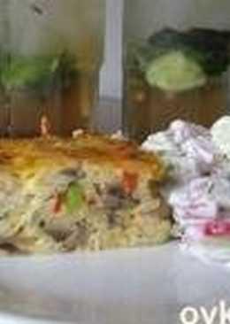 Рисовая запеканка с куриной грудкой, грибами и овощами