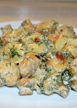 Картошечка жареная с грибами в сметане