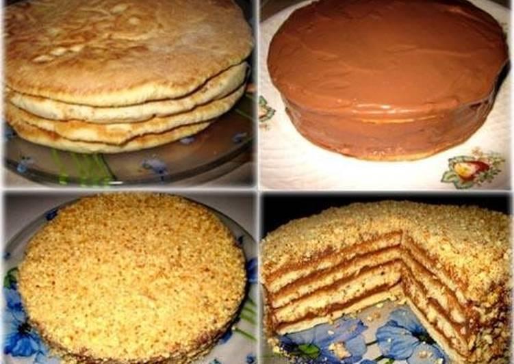 Быстрый ореховый торт на сковороде