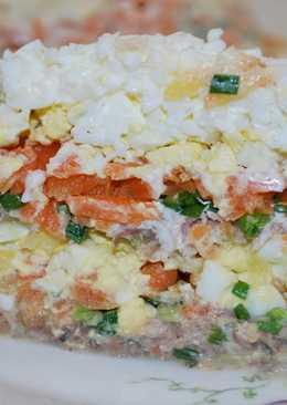 САЛАТ ИЗ САРДИН СЛОЯМИ. Простой и вкусный салат!