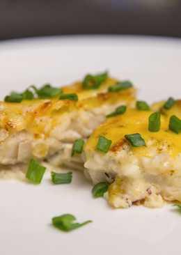 Минтай запеченный в духовке под сырным соусом