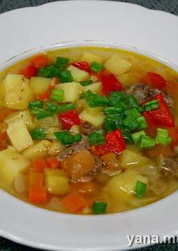 Гороховый суп с овощами и тушёнкой