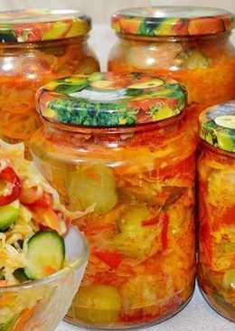 Улетный салат на зиму «Кубанский» с капустой и огурцами