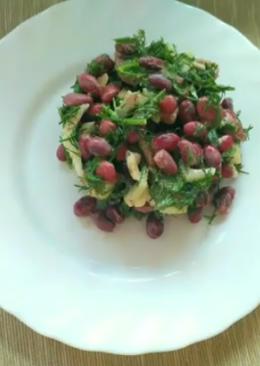 Сытный, полезный и очень вкусный салат с фасолью