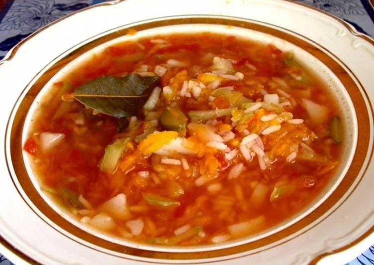 Рецепт рассольника с рисом и огурцами