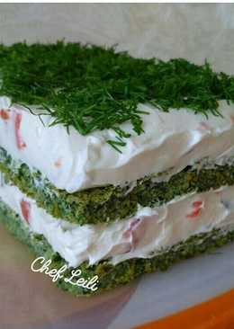 Мусс из крем-чиза с лососем на зеленом бисквите