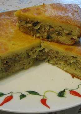Нежный пирог с капустой и мясом