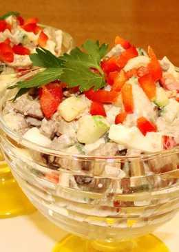 Вкусный салат с куриной печенью. Без майонеза
