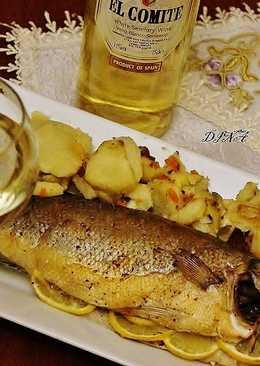 Сибас,запечённый в духовке с розмарином и лимоном