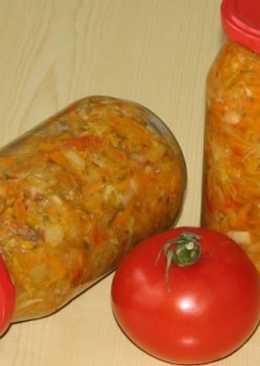 Салат-заготовка с рисом, помидорами, капустой и другими овощами