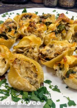 Макароны ракушки фаршированные шампиньонами и сливочным сыром