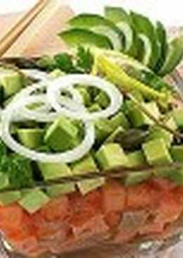 Салат из соленой рыбы с овощами