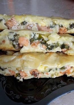 Заливной пирог с лососем