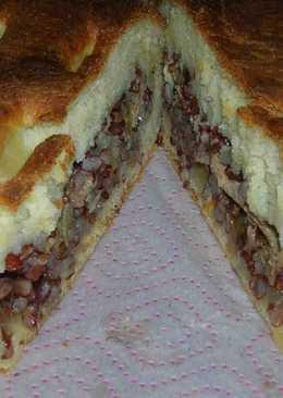 Пирог на кефире с красным рисом и консервированной сайрой