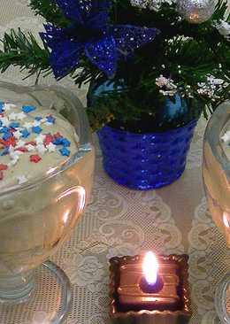 Десерт. Новогодний рецепт. Мусс из маскарпоне с печеньем