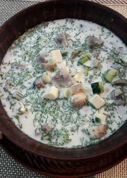Окрошка с шампиньонами и твердым сыром #кулинарныймарафон
