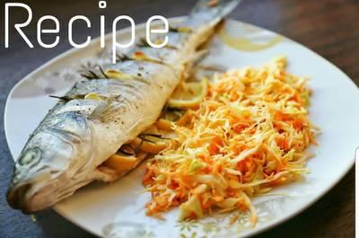 Сибас с салатом колслоу  Салат колслоу