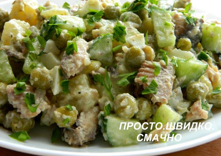 Салат с горошком и сардинами