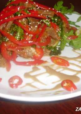 Тёплый салат из говядины в тайском стиле.!Вкусно,сытно и красиво