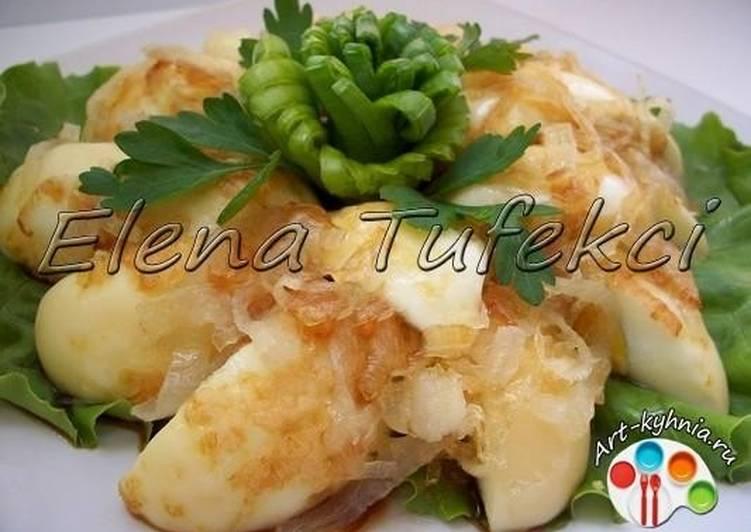 Закуска из вареных обжаренных яиц (МК от Елены)