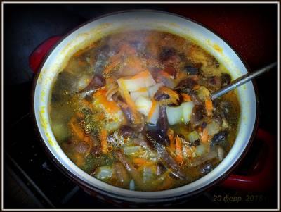 Суп грибной из замороженных опят
