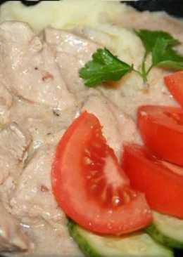 Индейка запеченная с грибами в сливочном соусе