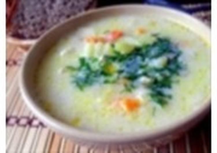Молочно-овощной суп с макаронами