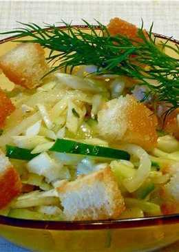 Хрустящий салат с крутонами (сухариками)