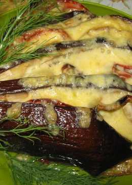 """Баклажаны """"Веер"""" запеченные в духовке с помидорами и сыром"""