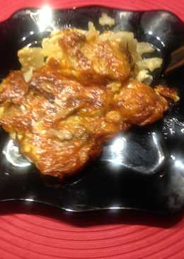 Картофельная запеканка с сыром и грибами в духовке