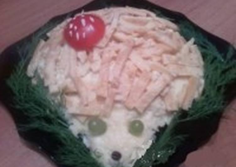 Салат новогодний с курицей и сыром «Ёжик»