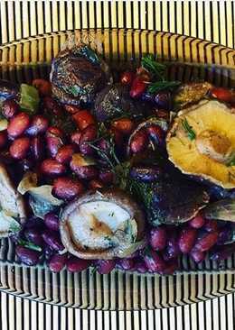Салат из фасоли и грибов шиитаки