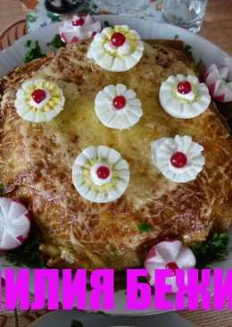 Блинный курник с грибами и рисом