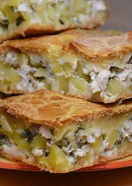 Быстрый заливной пирог с курицей и картошкой
