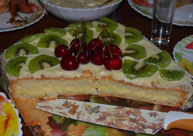 Бисквитный торт с заварным кремом на сгущёнке - дешево и быстро