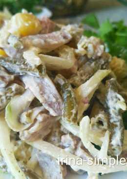 Салат из стручковой фасоли с сельдью