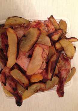 Курица с картофелем и мандаринами