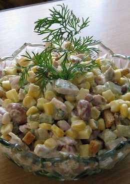 Салат с курицей, кукурузой и фасолью