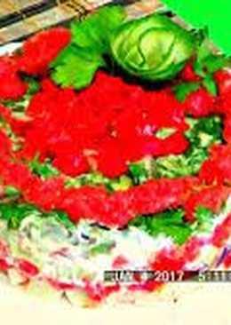Новогодний салат с красной рыбой, авокадо с шикарным вкусом